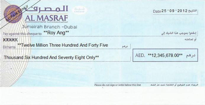 Printed Cheque of Al Masraf Bank in UAE