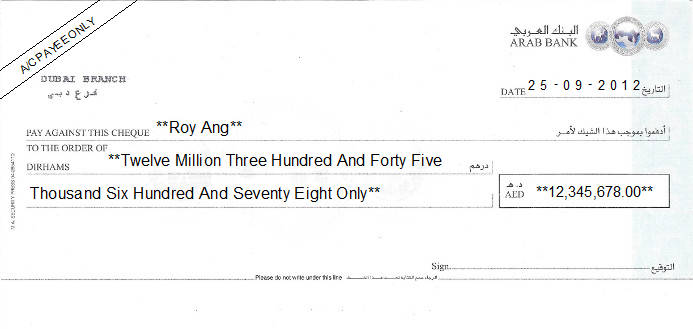 Printed Cheque of Arab Bank in UAE