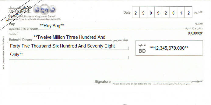 Printed Cheque of Arab Bank in Bahrain
