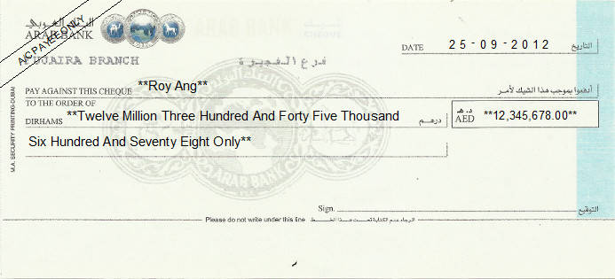 Printed Cheque of Arab Bank (Personal) in UAE