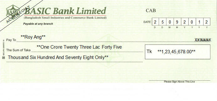 Printed Cheque of BASIC Bank - Bangladesh Small Industries and Commerce Bank in Bangladesh