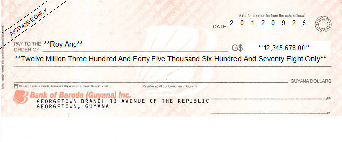 Printed Cheque of Bank of Baroda in Guyana