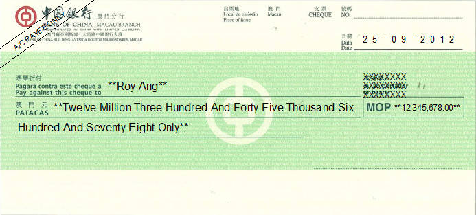 Printed Cheque of Bank of China in Macau