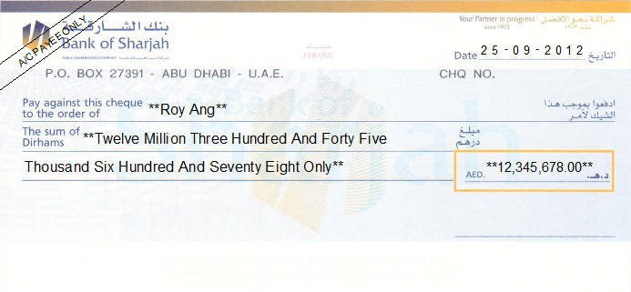 Printed Cheque of Bank of Sharjah in UAE
