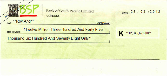 Printed Cheque of Bank of South Pacific Limited (BSP) in Papua New Guinea