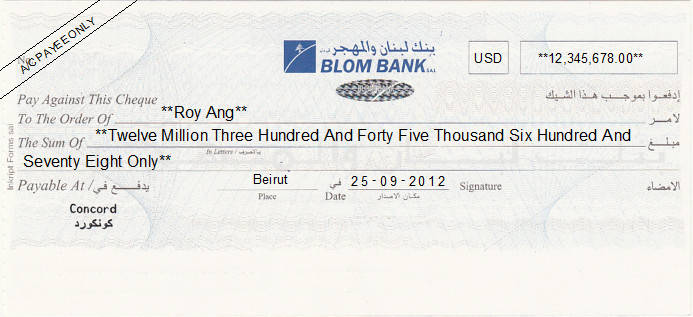 Printed Cheque of Blom Bank in Lebanon