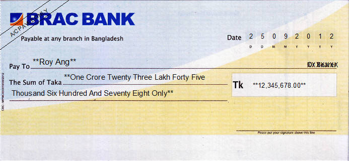 Printed Cheque of Brac Bank in Bangladesh