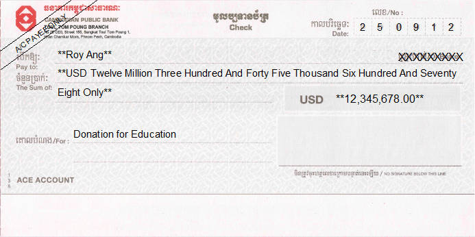 Printed Cheque of Cambodian Public Bank (USD)