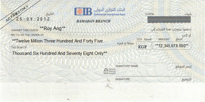 Printed Cheque of Commercial International Bank - CIB in Egypt