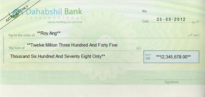 Printed Cheque of Dahabshil Bank International in Somalia