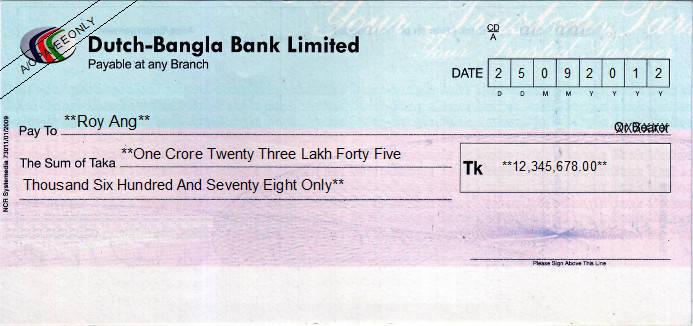 Printed Cheque of Dutch-Bangla Bank in Bangladesh