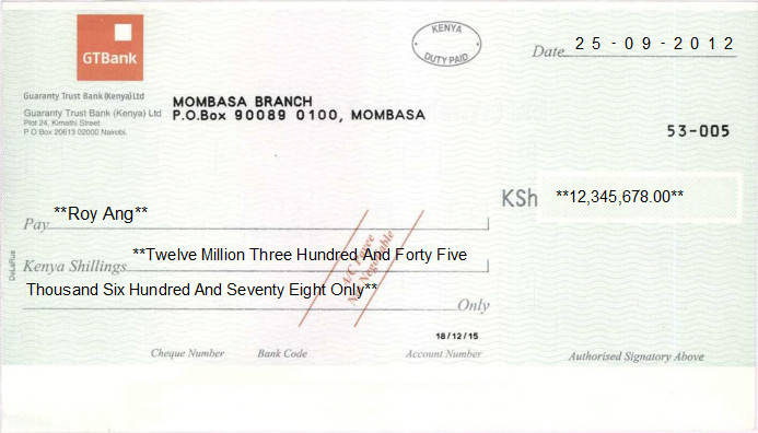 Printed Cheque of Guaranty Trust Bank (GTBank) in Kenya