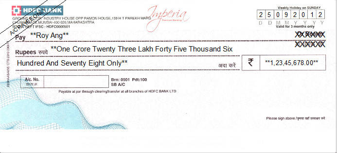Printed Cheque of HDFC Bank (Imperia) India