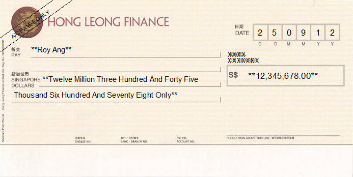 Printed Cheque of Hong Leong Finance in Singapore