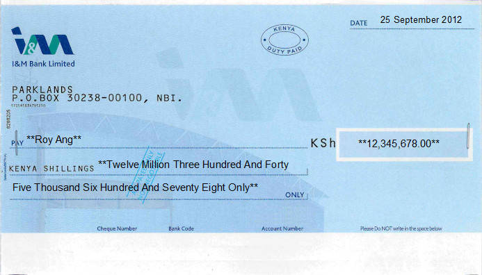 Printed Cheque of I&M Bank in Kenya