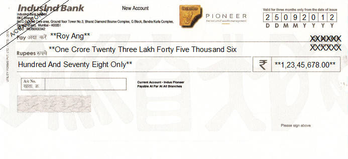 Printed Cheque of IndusInd Bank (Pioneer) India