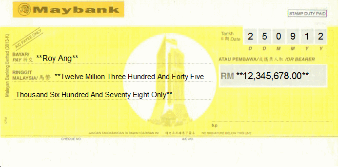 cheque writing/ printing software for malaysia banks, Powerpoint templates