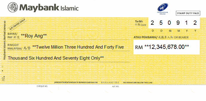 Printed Cheque of Maybank Islamic in Malaysia