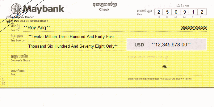 Printed Cheque of Maybank Cambodia