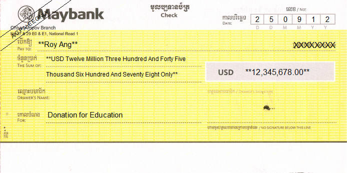 Printed Cheque of Maybank in Cambodia
