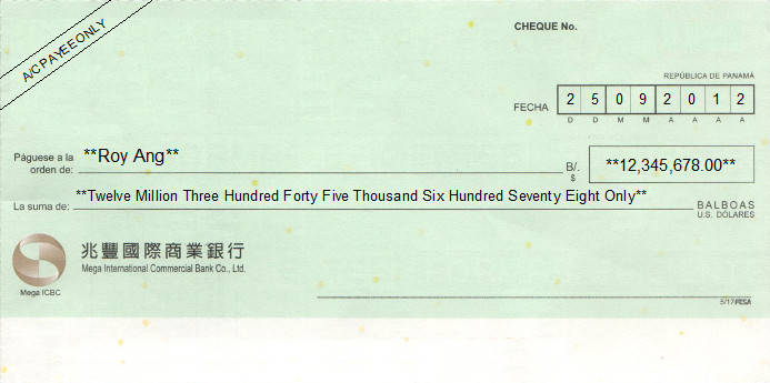 Printed Cheque of Mega International Commercial Bank (Mega ICBC - 兆豐國際商業銀行) in Panama