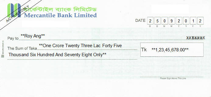 Printed Cheque of Mercantile Bank in Bangladesh