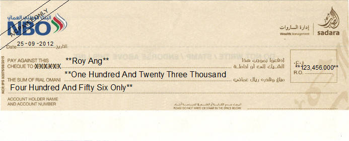 Printed Cheque of National Bank of Oman (NBO) - Personal
