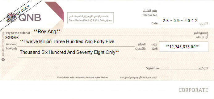 Printed Cheque of Qatar National Bank (QNB)
