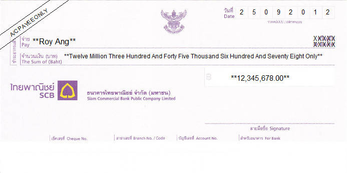 Printed Cheque of Siam Commercial Bank (SCB) in Thailand