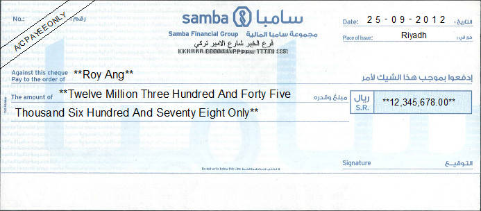 Printed Cheque of Samba Financial Group Saudi Arabia
