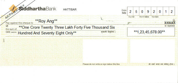 Printed Cheque of Siddhartha Bank in Nepal