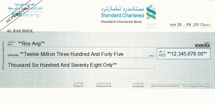 Printed Cheque of Standard Chartered Bank SME Banking in UAE