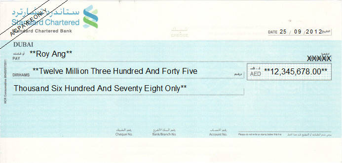 Printed Cheque of Standard Chartered Bank in UAE
