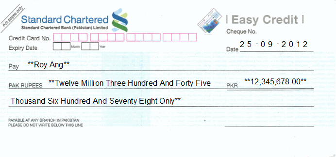 Printed Cheque of Standard Chartered Bank (Easy Credit) Pakistan
