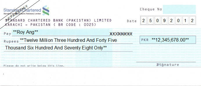 Printed Cheque of Standard Chartered Bank Pakistan