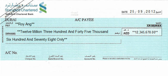 Printed Cheque of Standard Chartered Bank (Personal) in UAE
