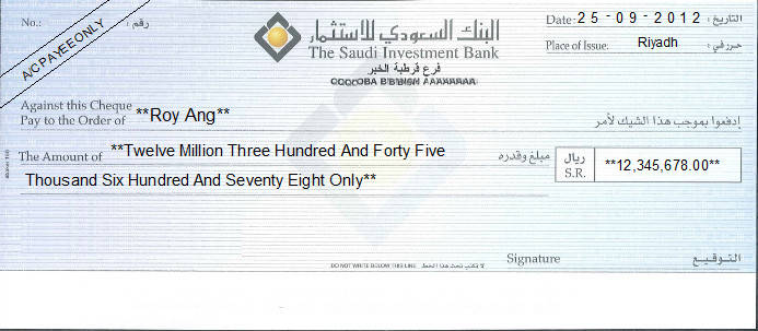 Printed Cheque of The Saudi Investment Bank Saudi Arabia