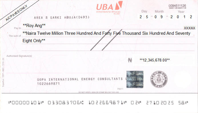 Printed Cheque of UBA - United Bank for Africa in Nigeria