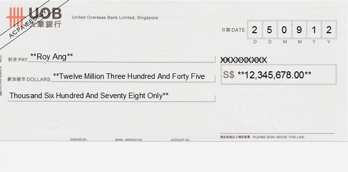 Printed Cheque of UOB Bank Singapore