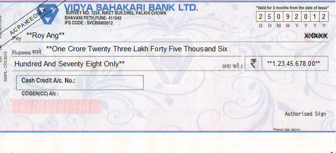 Printed Cheque of Vidya Sahakari Bank in India